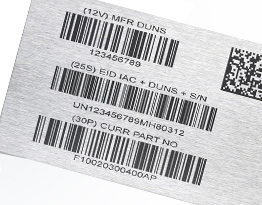 Bar codes, serial numbers